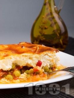 Гювеч със сирене, грах, домати, червени чушки, лук и заливка на фурна - снимка на рецептата